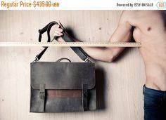 ON SALE 15% Mens satchel Gifts for students Gray leather bag Backpack for men Laptop bag woman Leather messenger bag Leather briefcase (369.75 USD) by EMILISTUDIO