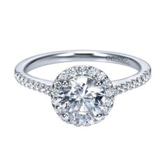 ENGAGEMENT - 1.22cttw Round Halo Diamond Engagement Ring With Pave Set Side Diamonds