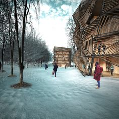 Rendering. FIRST PRIZE of  Europan 13 In [Espoo] Finland, BY Borja Sallago, Alan Cortez and Manuel Pinilla.Click above to see larger image.