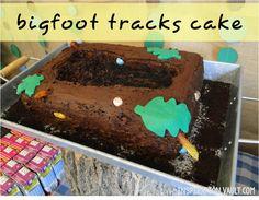 Bigfoot Tracks Cake. Bigfoot Party. Sasquatch Party. #inspovault