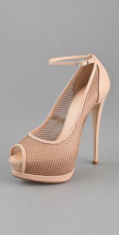 Giuseppe Zanotti Mesh Open Toe Pumps  #fashiongame www.stylmee.com