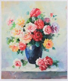 Gorgeous Abstract Flowers Oil Painting 20x24 inches for your home decor.