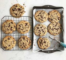 Chewy chocolate chip cookies recipe | BBC Good Food Chewy Chocolate Chip Cookies, Raisin Cookies, Perfect Cookie, Bbc Good Food Recipes, Cookie Recipes, Baking Recipes, Baking Ideas, Cafe Recipes, Cookie Ideas