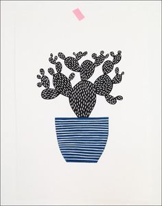 Large Cactus Lino Print by Amy Blackwell — On The Wall