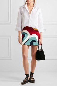REDValentino - Color-block Cotton-blend Crepe Mini Skirt - IT