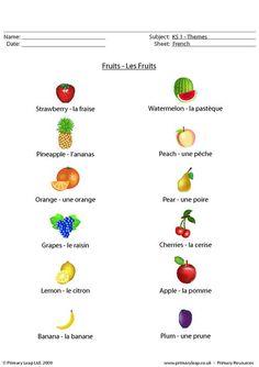 french worksheets - fruit