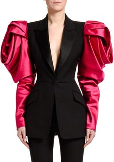 Alexander McQueen Rose-Sleeve Lightweight Wool Jacket at Bergdorf Goodman Rose Sleeve, Flare Leg Jeans, Cotton Jacket, Couture Fashion, Clothes For Women, Sleeves, Fashion Design, Celebrity Babies, Celebrity Photos