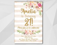 21st Watercolor Peach Stripe/Gold #Birthday Invitation by Digi #Invites https://www.etsy.com/shop/DigiInvites/    **Text can be changed for any occasion **This listing is for... #birthday #invitations #party #invites #xa302ps