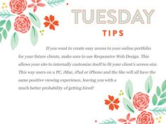 Let's build a strong portfolio and website that you are proud to show off!  Happy Tuesday!  http://www.everythingbloom.com/tuesday-tips-169-%C2%B7-project-portfolio