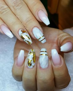 By @elinasnailart: French fade, mar... http://fancyacrylicnails.com/post/143671493191/by-elinasnailart-french-fade-marmor-stripes by https://j.mp/Tumbletail