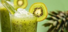 Brain-Boosting Green Tea & Kiwi Smoothie:1 cup almond milk (unsweetened) 2 cups fresh spinach 1 kiwi (peeled, sliced and frozen) ¼ banana (frozen) 1 tbsp lucuma powder 1 tbsp chia seeds ½ tsp matcha powder ½ cup cold filtered water