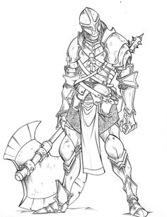 heavy infantry by Valhein on DeviantArt Fantasy Character Design, Character Design Inspiration, Character Concept, Character Art, Pencil Art Drawings, Art Sketches, He Man Tattoo, Warrior Drawing, Armor Concept