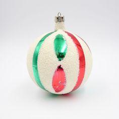 Vtg Silvered Blown Glass Jumbo Christmas Ornament White Mica Pink Green Poland