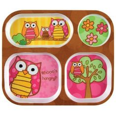 Amazon.com: Stephen Joseph Melamine Tray, Owl: Kitchen & Dining