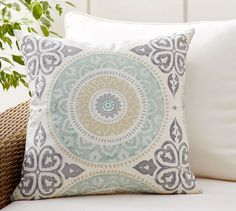 Leona Medallion Indoor/Outdoor Pillow | Pottery Barn & $39.98 at lowes Garden Treasures 19.4-in White Powder Coated ... islam-shia.org