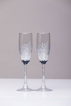 SILVER AND NAVY Wedding glasses and Cake Server Set cake knife