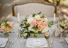 Elegant Peach, Pink and Green Wedding Centerpieces....pink and green? combine both of our favorite colors and perfect for spring!