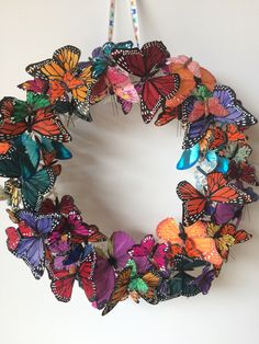 Excited to share this item from my shop: Butterfly Wreath ,Spring Wreath ,Summer Wreath,Garden Wreath ,Country Wreath Wreath Crafts, Diy Wreath, Tulle Wreath, Wreath Ideas, Deco Mesh Wreaths, Ribbon Wreaths, Yarn Wreaths, Floral Wreaths, Burlap Wreaths