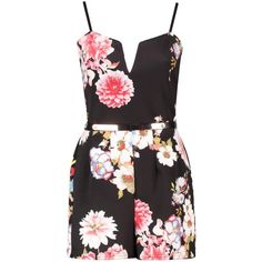 Boohoo Eliza Plunge Floral Belted Playsuit (69 BRL) ❤ liked on Polyvore featuring jumpsuits, rompers, dresses, playsuits, jumpsuit, vestidos, jersey jumpsuit, floral print jumpsuit, floral jumpsuit and floral print romper