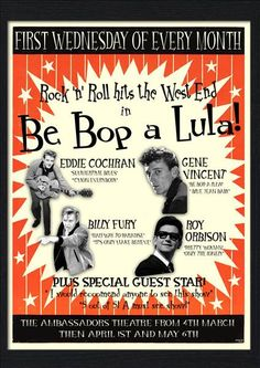 Be Bop A Lula Four giants of the Rock 'n' Roll world come together for the first time in BE BOP A LULA! A brand-new show which will take your breath away from the first chord to the explosive finale! Eddie Cochran and Gene Vincent first came to the UK in the legendary 1960 tour. Eddie tragically never made it back home after dying in a car crash but his musical genius paved the way for future artists such as The Beatles. Forever young, Eddie became a