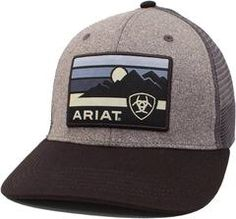 6ec1d22f93ca6 Ariat Men s Mesh Snap Back Logo Patch Hat- Grey