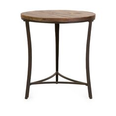 Side table with a plank-style fir wood top and subtly curved metal base. Product: End tableConstruction Material: Fir wood and metalColor: BrownDimensions: H x Diameter