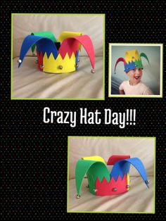 Ideas for parents. Create your own hat for your child to celebrate the crazy hat day at school.Use foam jingle bells. Have fun.