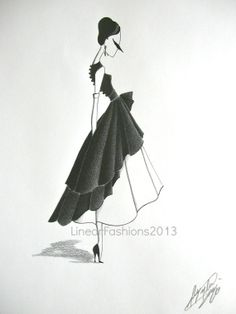 Original fashion illustration / 1950s party dress / pencil drawing / black and white art / gift