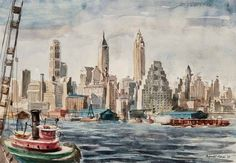 Reginald Marsh American, 1898-1954  A Tugboat on the East River, near Lower Manhattan, 1938  Signed Reginald Marsh and dated '38 (lr)