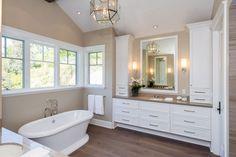 Traditional Master Bathroom with Custom Mirrors, Aqua Eden Soaking Bathtub by Kingston Brass, SKU: KBBB1349, Dawn, Quartz