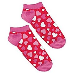 """Amscan Valentine's Day Hearts No Show Socks (1 Pair), 9"""" x 3.9"""", Pink/Red"""