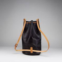 Convertible leather bucket bag