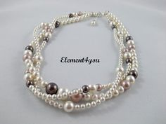 Bridal Necklace Multi strand pearl necklace Three 3 by Element4you, $62.00