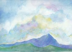 Watercolor Painting of Mt. Tam from Berkeley Marina by Julia Stege