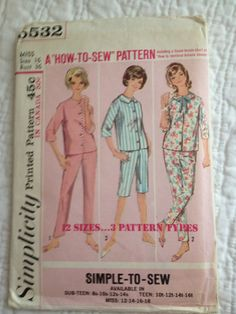 Vintage 1964 Simplicity Pattern #5532 for Womens Pajamas Miss Size 16  Bust: 36 Waist: 28 Hips: 38  Perfect for a pajama party