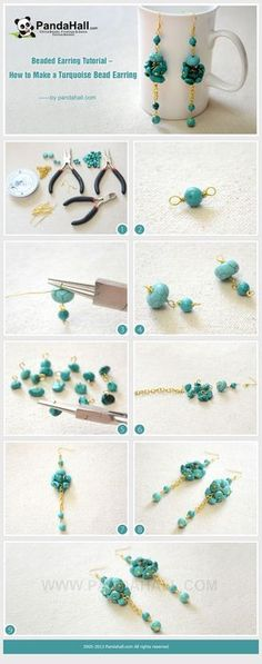 Jewelry Making Tutorial--How to Make Long and Clustered Turquoise Bead Earrings | PandaHall Beads Jewelry Blog