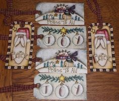 6 Primitive Christmas Snowman Santa Believe Peace JOY Hang Tags Gift Ties…