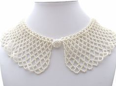 "Vintage Pearl Collar Necklace Creamy White Faux Pearls Handmade Beads 16""  This is a lovely vintage handmade faux pearl collar.   It is 2.63"" wide, has a neckline of 16"" and is in pristine, unworn condition. Jewelry & Watches, Vintage & Antique Jewelry, Costume"