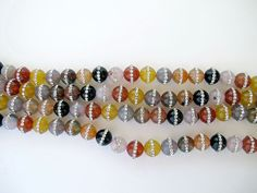 Natural Agate round beads, Multi color gemstone with Clear Crystal Rhinestone,10mm loose beads by Susiesgem on Etsy