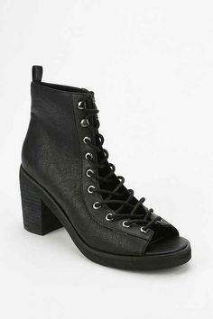 Shop Deena & Ozzy Peep-Toe Lace-Up Boot at Urban Outfitters today. We carry  all the latest styles, colors and brands for you to choose from right here.