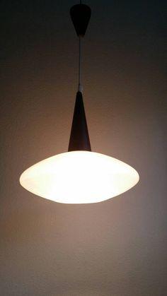 PHILIPS HOLLAND - Louis Kalff - 50s 60s Danish style glass & wenge wood pendant light