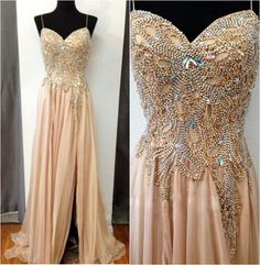 Champagne Prom Dress WIth mass beading sexy slit #prom #evening dress