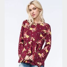 •• Red Floral Boho Bell Sleeve Top •• Red floral boho bell sleeve top. Purchased from Tilly's brand. Only worn once, true to size. Make me an offer ✨ Free People Tops