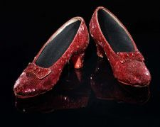 Dorothy's Ruby Slippers - Sixteen-year-old Judy Garland wore these sequined shoes as Dorothy Gale in the 1939 film classic The Wizard of Oz. In the original book by L. Frank Baum, Dorothy's magic slippers are silver; for the Technicolor movie, they were changed to ruby red to show up more vividly against the yellow-brick road.