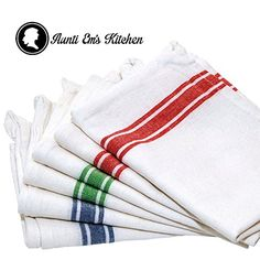 Kitchen Dish Towels with Vintage Design for Kitchen Decor Super Absorbent 100% Natural Cotton Kitchen Towels (Size: 25.5 x 15.5 inches) White with Red, Green and Blue, 6-Pack *** Check out this great product.