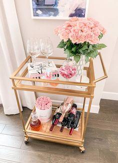 Pretty in Pink :Valentines Day Barcart Blog Hop - Tuft & Trim Diy Bar Cart, Gold Bar Cart, Bar Cart Styling, Bar Cart Decor, Bar Carts, Ikea Bar Cart, Home Bar Decor, Target Home Decor, Kitchen Decor