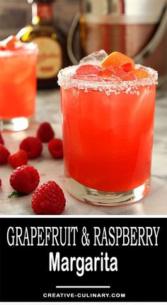 I used to think margaritas were only summer fare but I've learned to love them make with seasonal produce. This Grapefruit and Raspberry Margarita is no exception! via @creativculinary #grapefruit #raspberry #margarita #tequila #winter #cocktails