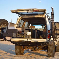 The Scout Overland Kitchen in all its glory! Featured in the Toyota FJ80 #landcruiser at #pismobeach  #campmoreworkless #scoutequipment #overland #overlanding #adventuremobile #basecamp #camping #campkitchen #homeiswhereyouparkit