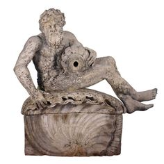 French Limestone Fountain Figure of a River God
