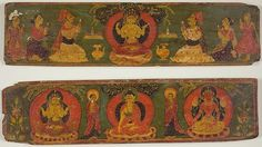 centuriespast:  Nepal Pair of Manuscript Covers Depicting Buddha Shakyamuni Flanked by Two Monks and Two Goddesses, c. 17th century Art Institute Chicago